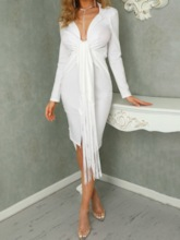 Sexy Party/Cocktail Pleated Notched Lapel Mid-Calf Long Sleeve Mid Waist Women's Dress