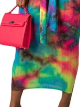 Print Skirt Color Block Western Pullover Women's Two Piece Sets