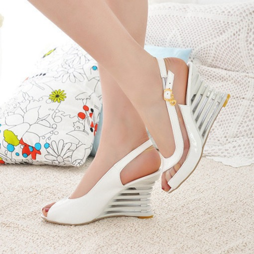 Slip-On Peep Toe Wedge Heel Low-Cut Upper Sandals