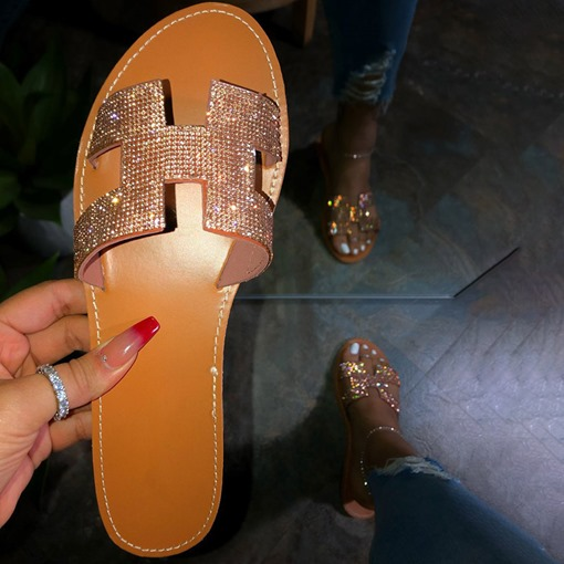 Flip Flop Flat With Rhinestone Slip-On Casual Slippers