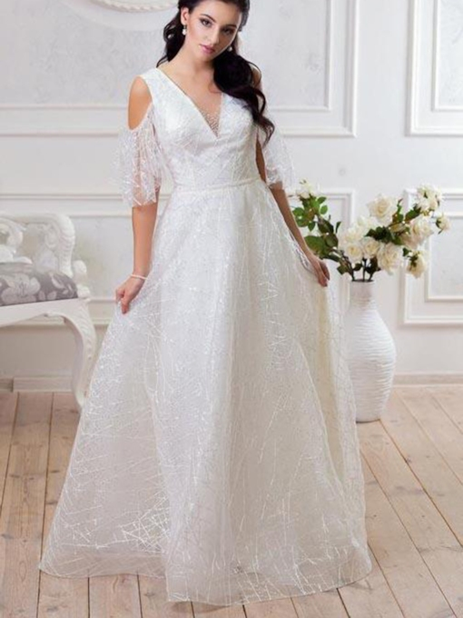 A-Line Floor-Length Beading Sequins V-Neck Wedding Dress 2020