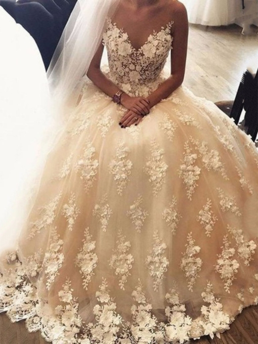 Appliques Lace A-Line Sleeveless Floor-Length Wedding Dress 2020