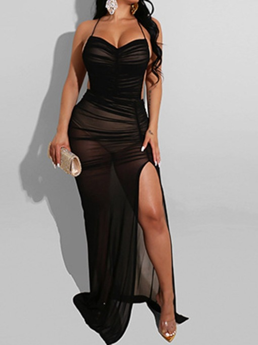 Sleeveless Floor-Length Pleated Plain Party/Cocktail Backless See-Through Women's Dress