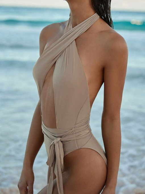 Sexy One Piece Plain Beachwear Women's Swimwear