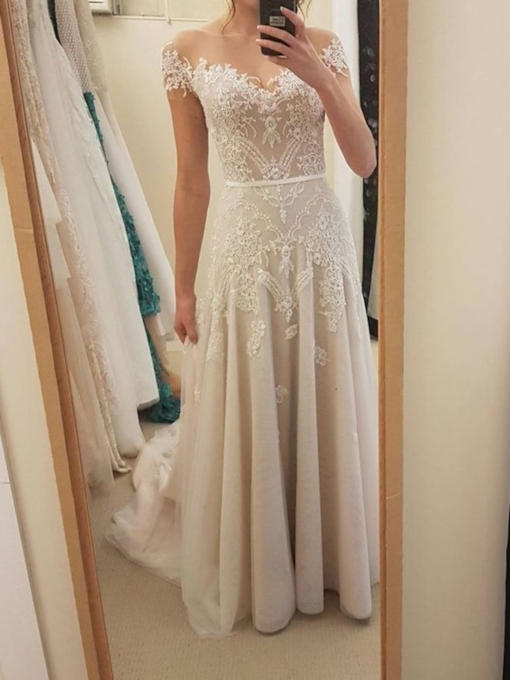 A-Line Floor-Length Short Sleeves Church Wedding Dress 2020