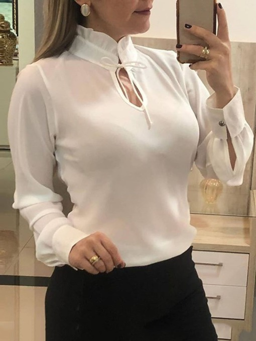 Long Sleeves Plain Standard Solid Casual Women's Blouse