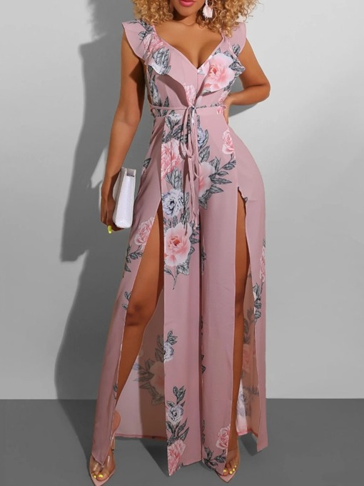 Sweet Floral Print Full Length Wide Legs Women's Jumpsuit