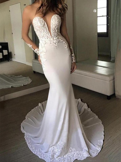 Beading Floor-Length Long Sleeves Trumpet Mermaid Hall Wedding Dress 2021