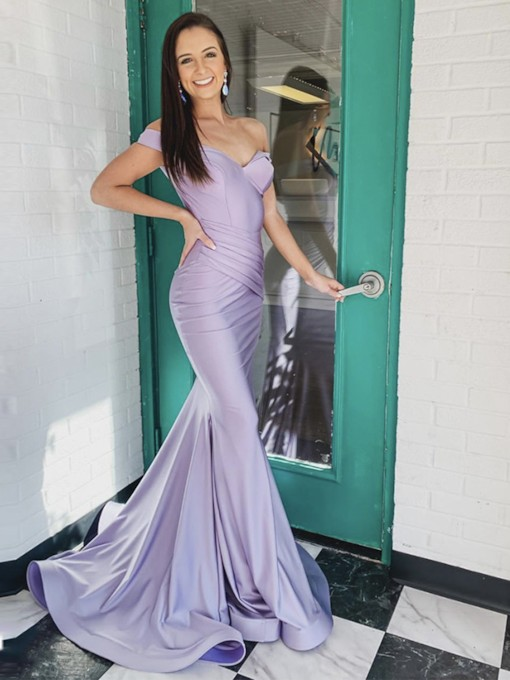Floor-Length Trumpet Mermaid Off-The-Shoulder Evening Dress 2020