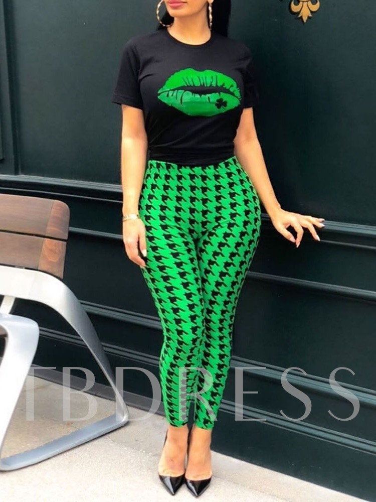 Houndstooth T-Shirt Western Print Pencil Pants Women's Two Piece Sets