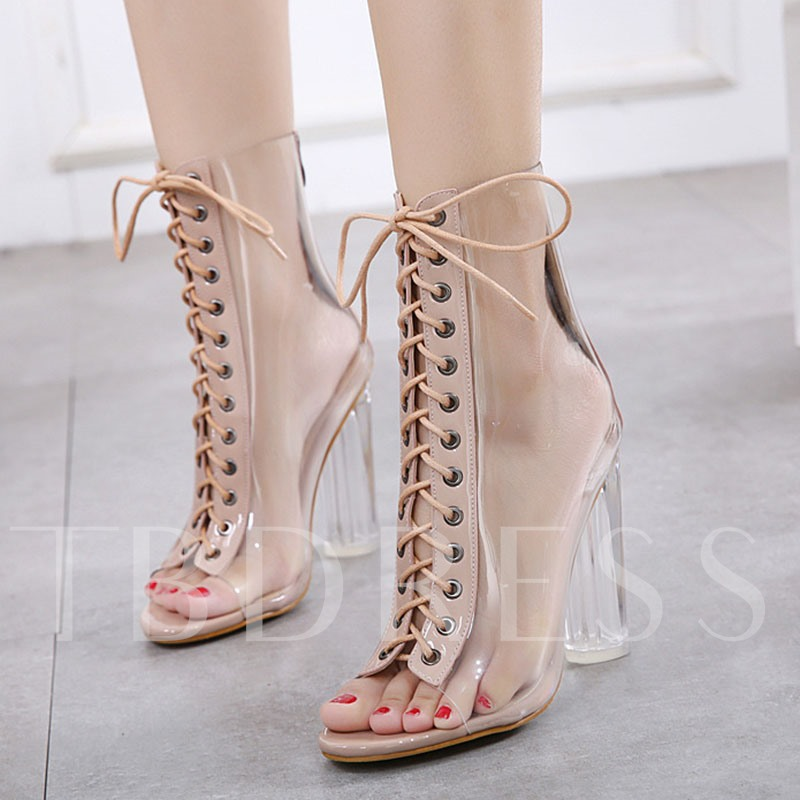 Chunky Heel Patchwork Lace-Up Front Peep Toe Casual Boots