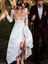 Long Sleeves A-Line V-Neck Floor-Length Garden Outdoor Boho Wedding Dress 2021