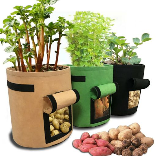 Black Non-Woven Fabric Cylinder Trumpet Grow Bags 4 Gallon 15L (25D*30H)