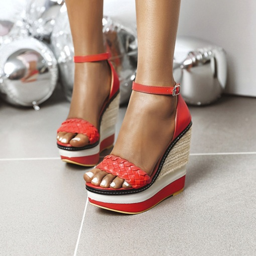Line-Style Buckle Open Toe Heel Covering Wedge Heel Woven Sandals