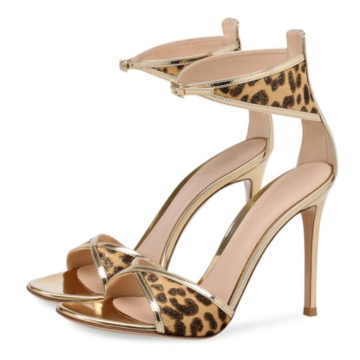 Heel Covering Line-Style Buckle Open Toe Stiletto Heel Leopard Sandals