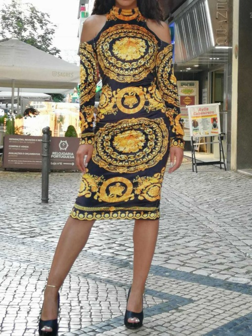 African Fashion Dashiki Long Sleeve Mid-Calf Stand Collar Print Winter Women's Dress