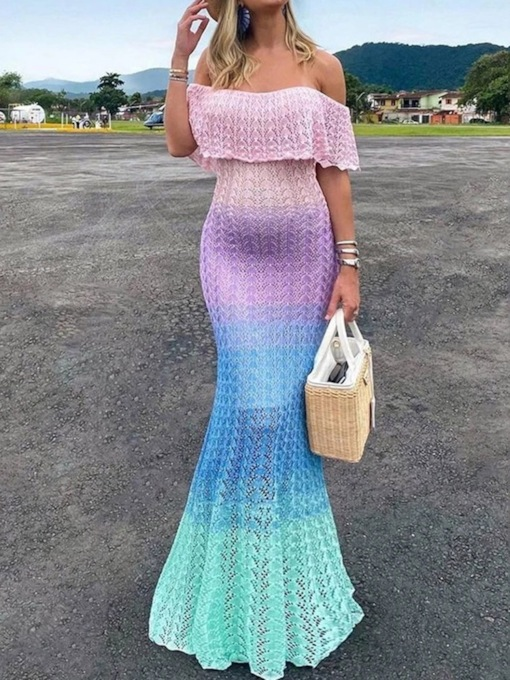 Half Sleeve Floor-Length Off Shoulder Hollow Mermaid Women's Dress