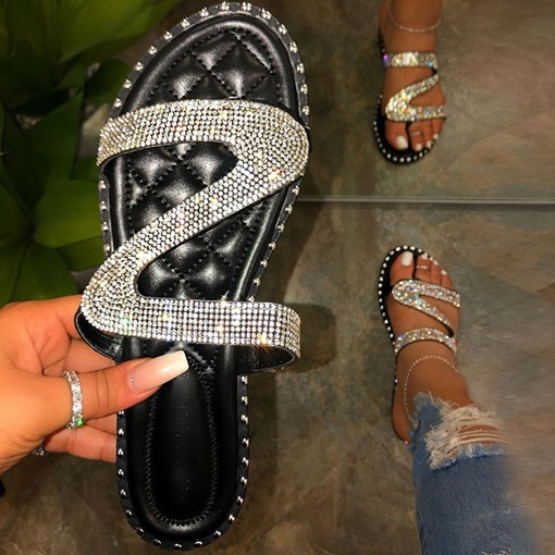 Slip-On Rhinestone Thong Flat With Summer Slippers