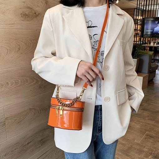 Sweet Plain Polyester Rectangle Crossbody Bags