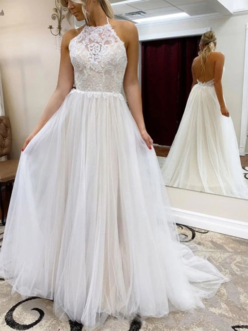 Floor-Length Halter A-Line Lace Beach Wedding Dress 2020