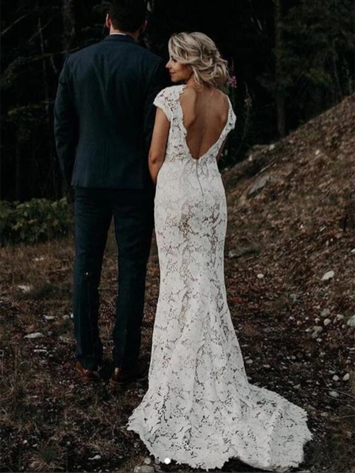 Lace V-Neck Cap Sleeves Trumpet Mermaid Boho Beach Wedding Dress 2021
