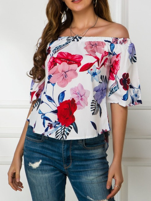 Off Shoulder Floral Print Half Sleeve Pullover Women's Blouse