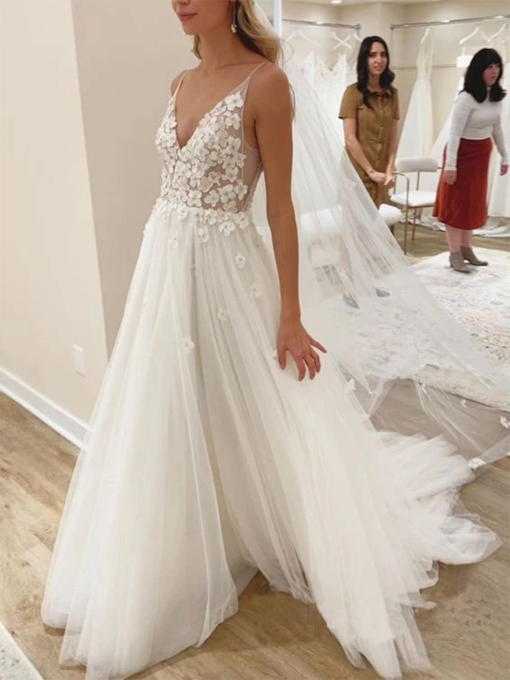 Spaghetti Straps Appliques Sleeveless Floor-Length Garden Outdoor Wedding Dress 2021