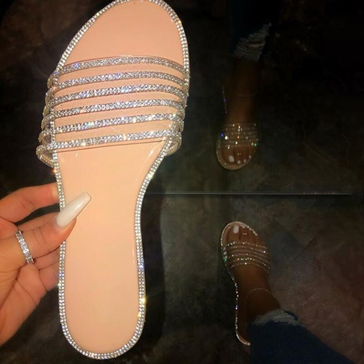 Rhinestone Flip Flop Slip-On Flat With Plain Slippers