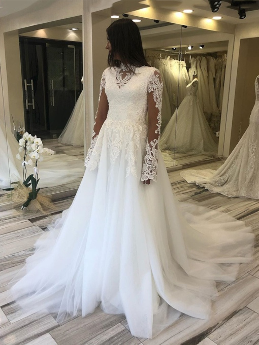 Beading High Neck A-Line Floor-Length Hall Wedding Dress 2020