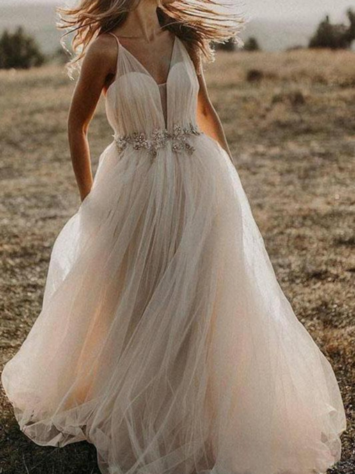 Floor-Length Beading Sleeveless A-Line Beach Wedding Dress 2020