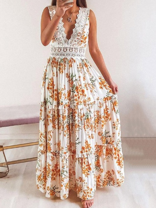 Patchwork Floor-Length V-Neck Print Sleeveless Women's Dress