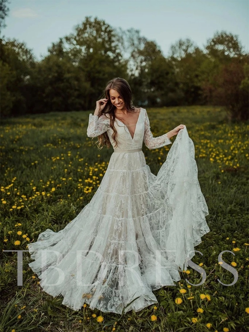 Floor-Length A-Line Long Sleeves V-Neck Beach Wedding Dress 2021