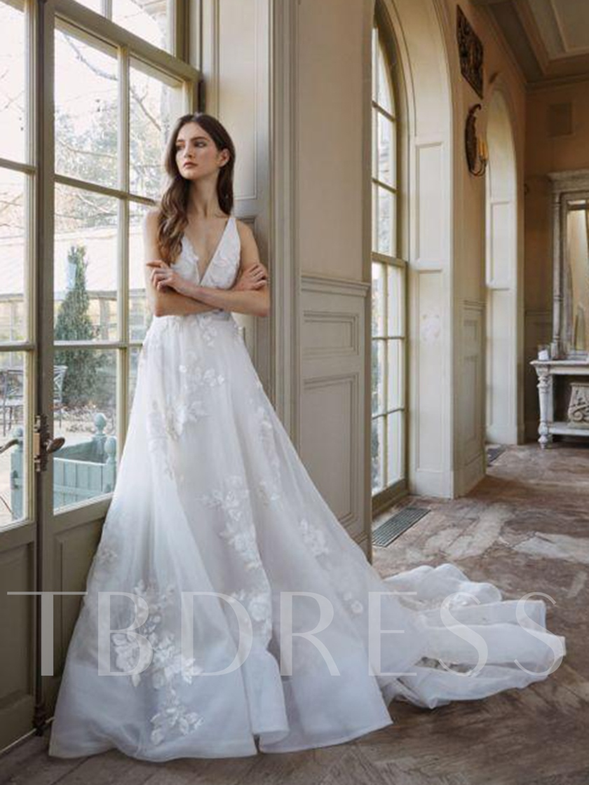 A-Line Floor-Length Court Sleeveless Outdoor Wedding Dress 2020