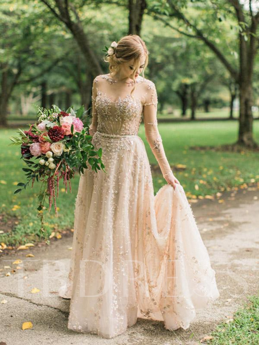 Bateau A-Line Long Sleeves Beading Beach Wedding Dress
