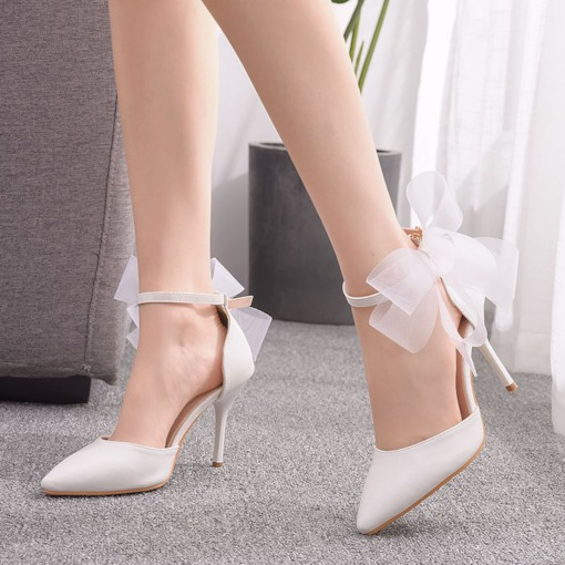 Heel Covering Line-Style Buckle Pointed Toe Stiletto Heel Plain Sandals