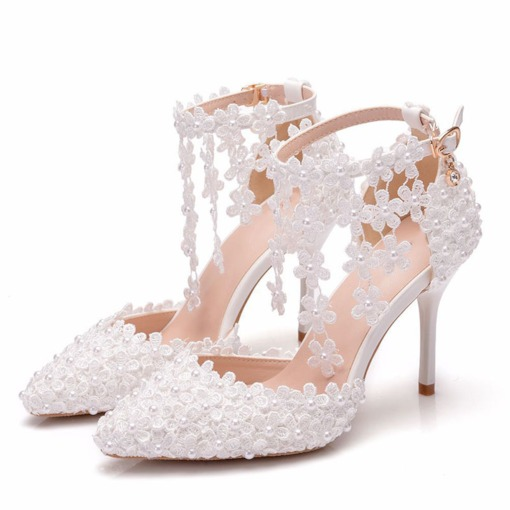 Stiletto Heel Heel Covering Line-Style Buckle Pointed Toe Wedding Sandals