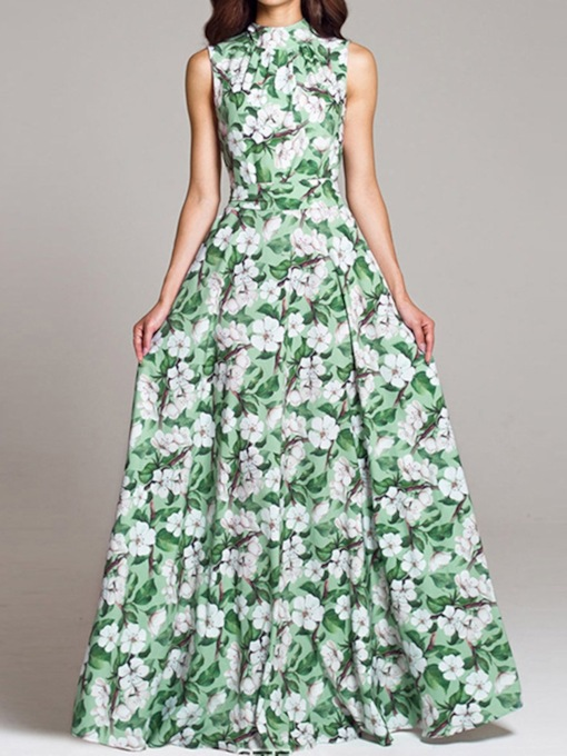 Print Stand Collar Sleeveless Floor-Length Floral Women's Dress