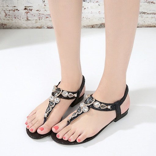 Block Heel Slip-On Thong Casual Sandals