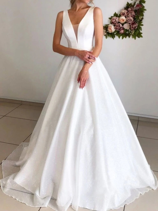 Sequins A-Line Sweep Brush Train Sleeveless Hall Wedding Dress 2020