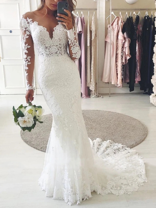Long Sleeves Floor-Length Trumpet Lace Wedding Dress 2020