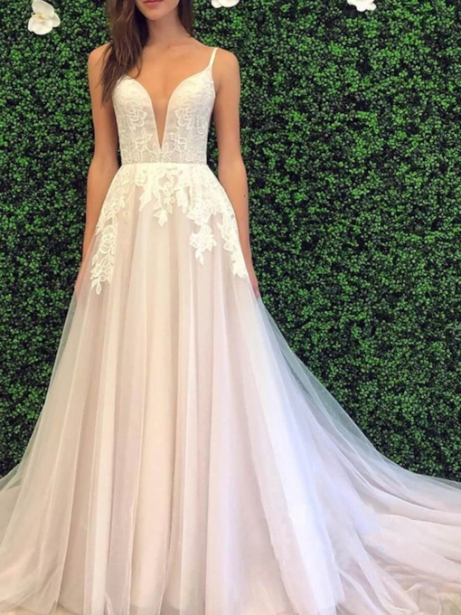 Appliques Sleeveless Floor-Length Hall Wedding Dress 2020