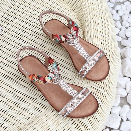 Elastic Band Wedge Heel Open Toe Rhinestone Sandals