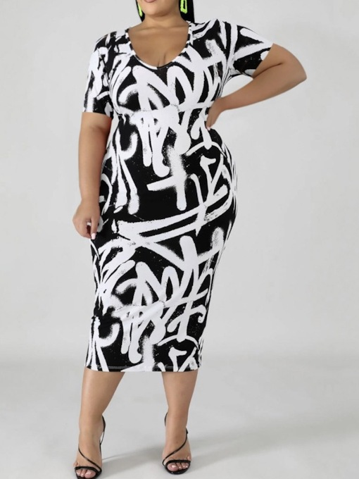 Plus Size Mid-Calf Short Sleeve Print Scoop Casual Women's Dress
