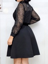 Stand Collar See-Through Long Sleeve Above Knee Polka Dots Women's Dress