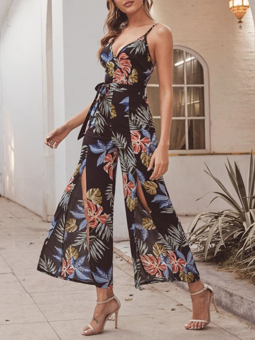 Ankle Length Western Print Plant Wide Legs Women's Jumpsuit