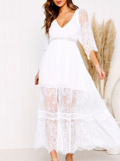 Hollow Three-Quarter Sleeve Ankle-Length Lace V-Neck Women's Dress
