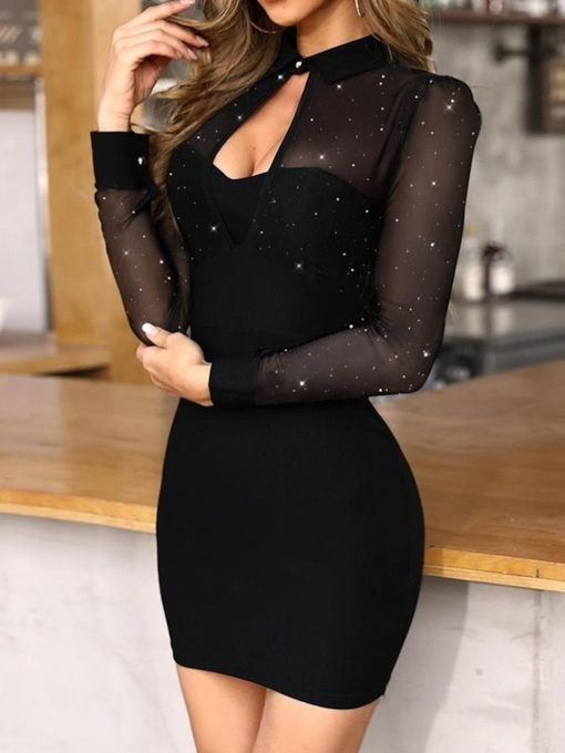 See-Through Above Knee Long Sleeve Plain Short Sexy Women's Dress