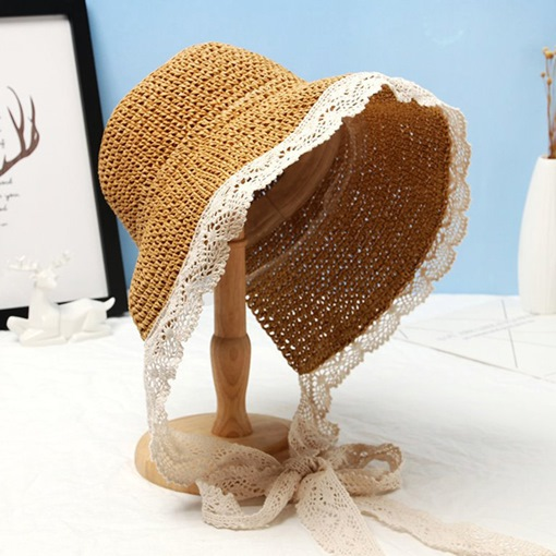 Straw Plaited Article Casual Lace Fall Hats