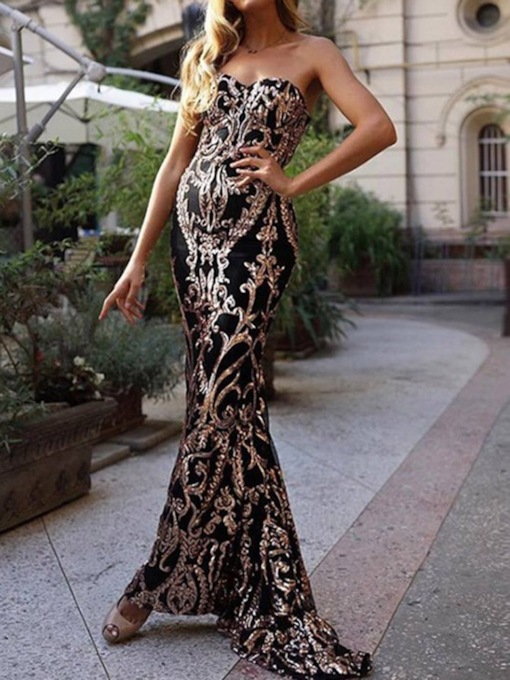Floor-Length Sleeveless Court Sequins Formal Dress 2020