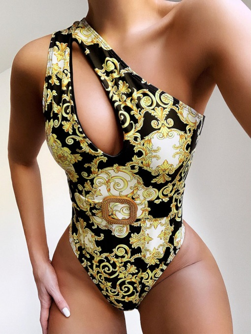 One Piece One Shoulder Print Women's Swimwear
